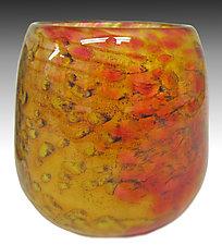 Yellow Mini Riverbed Bowl by Thomas Philabaum (Art Glass Bowl)