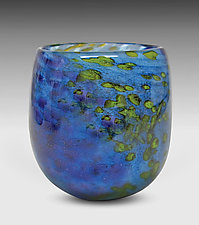 Blue Mini Riverbed Bowl by Thomas Philabaum (Art Glass Bowl)
