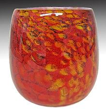 Red Mini Riverbed Bowl by Thomas Philabaum (Art Glass Bowl)