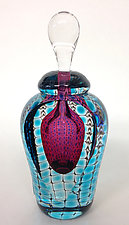 Tall Jewel Perfume Bottles by Thomas Philabaum (Art Glass Perfume Bottle)