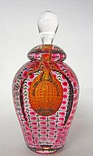 Tall Jewel Perfume Bottles by Thomas Philabaum (Art Glass Perfume Bottle)