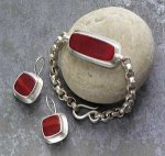 Bracelet and Earrings by Amy Faust (Silver & Glass Bracelet & Earrings)