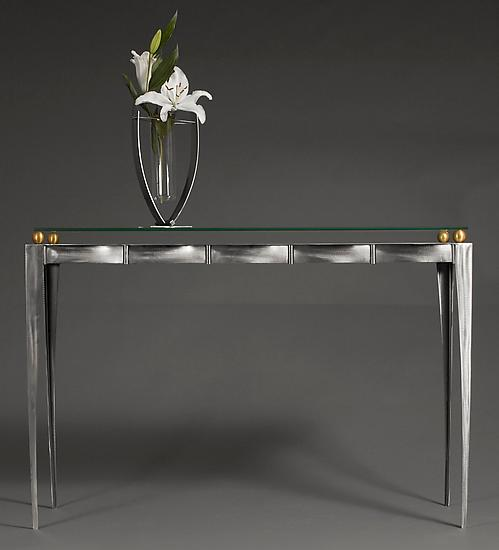 Steel /Glass / Brass Console Table