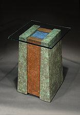 Lapis Pool Pedestal Table by David M Bowman and Reed C Bowman (Metal Pedestal Table)