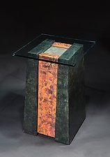Red Patchwork Pedestal Table by David M Bowman and Reed C Bowman (Metal Side Table)