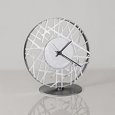 Adore Clock in Silver by Ken Girardini and Julie Girardini (Metal Clock)