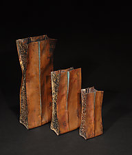 Plunkett Fold Vase - Foldformed Copper by David M Bowman and Reed C Bowman (Metal Vase)