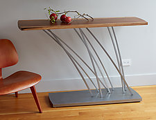 Windswept Console Table by Ken Girardini and Julie Girardini (Wood & Steel Console Table)