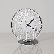 Adore Clock in Silver by Ken Girardini and Julie Girardini (Metal Clock)