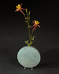 White Blue-Green Moon Vase by David M Bowman and Reed C Bowman (Brass Vessel)
