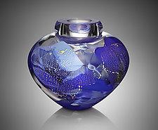Blue Camo Bowl by Randi Solin (Art Glass Vessel)