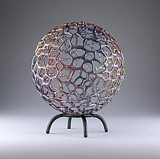 Rainbow Mottled Sphere by Bandhu Scott Dunham (Art Glass Sculpture)