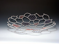 Frosted Red and Gold Platter by Bandhu Scott Dunham (Art Glass Sculpture)