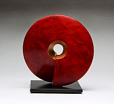 Crimson Coil Sculpture by Cheryl Williams (Ceramic Sculpture)