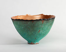 Copper Patina Prosperity Bowl by Cheryl Williams (Ceramic Bowl)