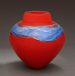 Lacquer Red Emperor Bowl by Randi Solin (Art Glass Vessel)