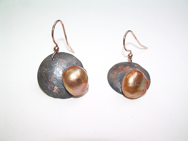 Copper and Orange Pearl Earrings