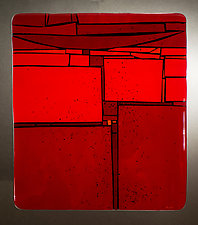 Red in Between by Vicky Kokolski and Meg Branzetti (Art Glass Wall Sculpture)