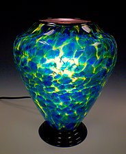 Blue & Yellow Table Lamp by Curt Brock (Art Glass Table Lamp)