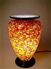 Rose Gold Pinched Lip Table Lamp by Curt Brock (Art Glass Table Lamp)