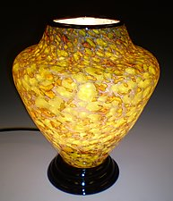 Lime Green and Gold Lamp by Curt Brock (Art Glass Table Lamp)