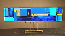 Window-Blue Horizontal by Vicky Kokolski and Meg Branzetti (Art Glass Sculpture)