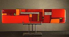 Windows Red - Horizontal by Vicky Kokolski and Meg Branzetti (Art Glass Sculpture)