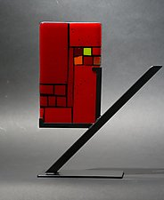 Mini Windows Red by Vicky Kokolski and Meg Branzetti (Art Glass Sculpture)