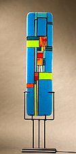 Windows II Blue by Vicky Kokolski and Meg Branzetti (Art Glass Sculpture)