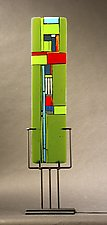 Windows II Green by Vicky Kokolski and Meg Branzetti (Art Glass Sculpture)