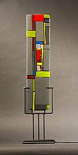 Windows II Gray by Vicky Kokolski and Meg Branzetti (Art Glass Sculpture)