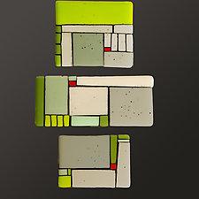 Homeward Bound in Green by Vicky Kokolski and Meg Branzetti (Art Glass Wall Sculpture)