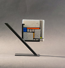 Tile Gray in Stand by Vicky Kokolski and Meg Branzetti (Art Glass Sculpture)