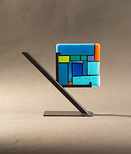 Tiles Blue by Vicky Kokolski and Meg Branzetti (Art Glass Sculpture)