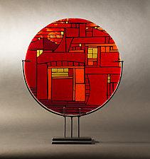 Amber Glow by Vicky Kokolski and Meg Branzetti (Art Glass Sculpture)