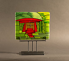 Home Green Horizontal by Vicky Kokolski and Meg Branzetti (Art Glass Sculpture)