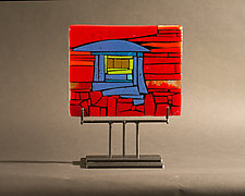 Home Red Horizontal by Vicky Kokolski and Meg Branzetti (Glass Sculpture)