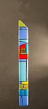 House Party Blue II by Vicky Kokolski and Meg Branzetti (Art Glass Wall Sculpture)