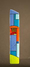 House Party Blue VI by Vicky Kokolski and Meg Branzetti (Art Glass Wall Sculpture)