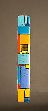 House Party Blue V by Vicky Kokolski and Meg Branzetti (Art Glass Wall Sculpture)
