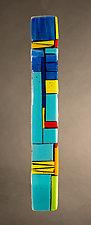 House Party Blue IV by Vicky Kokolski and Meg Branzetti (Art Glass Wall Sculpture)
