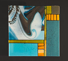 Steel Blue I by Vicky Kokolski and Meg Branzetti (Art Glass Wall Sculpture)