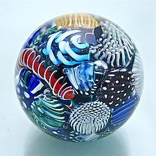Micro Ocean Reef Sphere Paperweight by Michael Egan (Art Glass Paperweight)