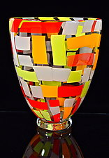 Large Cherry Mango Vase by Michael Egan (Art Glass Vase)