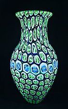 Large Banded Murrini Vase by Michael Egan (Art Glass Vase)