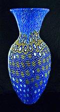 Blue Broadband Murrini Vase 3 by Michael Egan (Art Glass Vase)