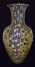 Gold and Amethyst Broadband Murrini Vase by Michael Egan (Art Glass Vase)