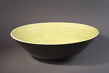 Black and Lime Raku Bowl by Amber Archer (Ceramic Bowl)