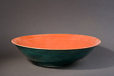 Forest Green and Scarlet Bowl by Amber Archer (Ceramic Bowl)