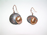 Copper and Orange Pearl Earrings by Diana Lovett (Copper & Pearl Earrings)